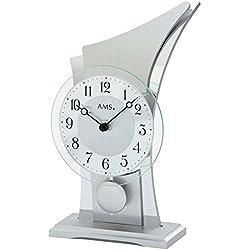 AMS Uhrenfabrik T1138 Wooden Case/Aluminium Clock, Silver