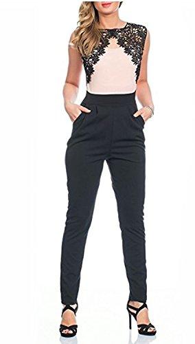 Kendindza Premium Damen Overall Spitze 6029 (XL, Rosa Muster 1) -