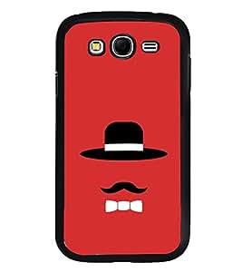 Fuson Designer Back Case Cover for Samsung Galaxy Grand I9082 :: Samsung Galaxy Grand Z I9082Z :: Samsung Galaxy Grand Duos I9080 I9082 (Black Hat Long Moustache Collar Red Charle Champlin)