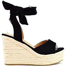 0c692d8fe97 Zapatos Sandalias con cuña tacón Plataforma Alta con Tira Ancha y Cuerda al  Tobillo de Ante