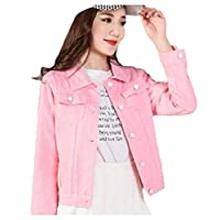DressU Womens Skinny Long-sleeve Spring/Fall Candy Color Denim Jean Bomber Jacket AS1 XS