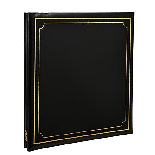 Arpan - album portafoto autoadesivo, misura xl, 32 x 26 cm, 24 pagine, per un totale di 48 lati, copertina in pelle imbottita, colore: nero