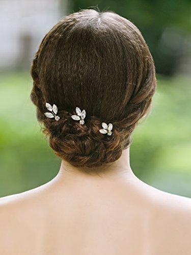 handcess Gold Strass Hochzeit Haarnadeln Clips Brautschmuck Haarschmuck für Bräute und Brautjungfern (Nadel Haar)