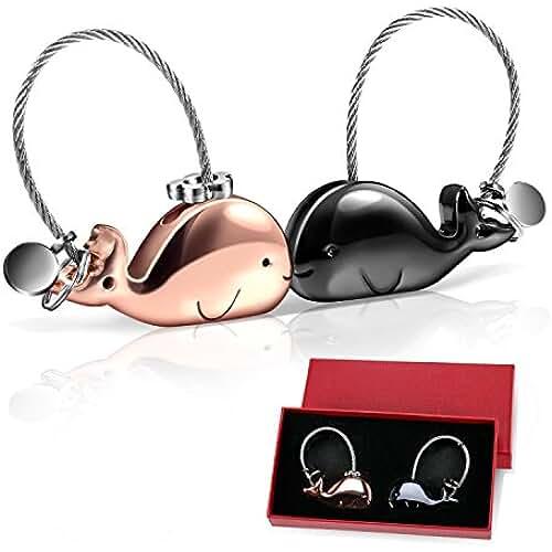 Foonii 1 par Parejas Llaveros, magnética desmontable Auto Llaveros, ballena Llaveros de Cerdo, Llaveros Con boca magnética, para Amantes Mujer Hombre (Negra + Oro Rosa)