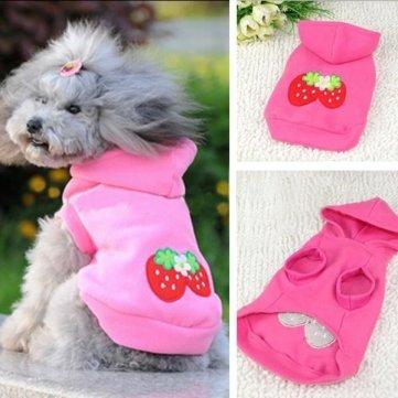 Winter-Katze Hundebekleidung Haustier Hund Niedlich Strawberry Hoodie Kostüm - Niedliche Hunde-outfits