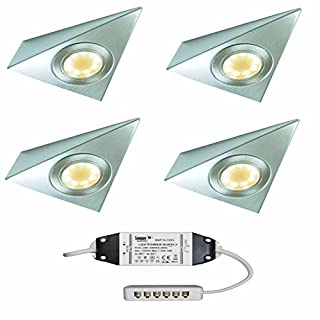 4 X LED TRIANGLE KITCHEN CUISINE UNDER CABINET CUPBOARD LIGHT WARM WHITE