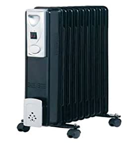 AXE 2KW BLACK 9 Fin Compact Oil Filled Radiator 2000W Thermostat Controlled Energy Efficient Portable Heater Radiator for Offices Home and Caravans 3 heat settings 800w 1200w 2000W (1x 2KW HEATER)