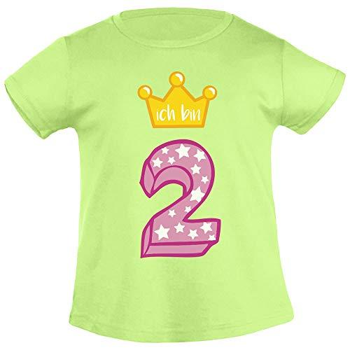 Ich Bin Zwei Goldene Krone 2 Geburtstag Mädchen T-Shirt 86/94 (1-2J) Limettengrün - Kinder-goldenen Geburtstag