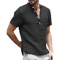 Taoliyuan Mens Henley Shirt Short Sleeve Linen Banded Collar V Neck Summer Beach T Shirt Blouse with Pocket