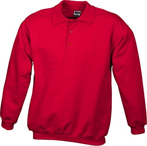 James & Nicholson Herren Polo-Sweat Heavy Sweatshirt Rot (Red)