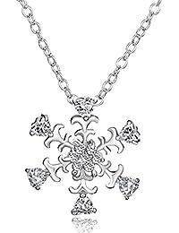 Collar con pendiente de copo de nieve, de plata de Ley y cristal Swarovski Elements, para regalo de navidad para mujer.