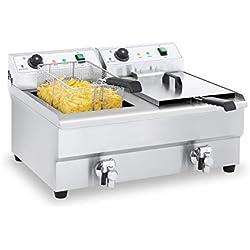 Royal Catering Friteuse Électrique Friteuse Double Professionnelle RCEF 16DH-1 (2 x 16 Litres, 2 x 3 200 Watt, Thermostat, 2 Robinets de vidange, Acier inox)
