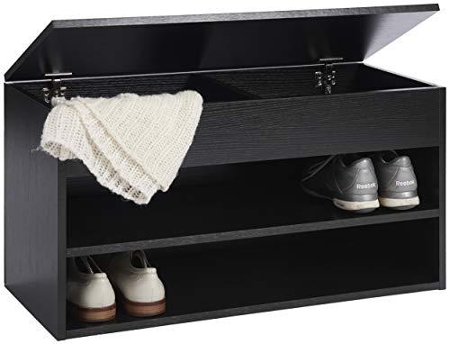 Ts-ideen scarpiera cassapanca da ingresso 80x42 cm con 2 ripiani portascarpe e coperchio apribile. nera