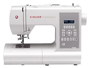 SINGER Confidence - Máquina de coser (Eléctrico, LCD, Gris, Color blanco, El pie para ojales, Protectora) de SINGER