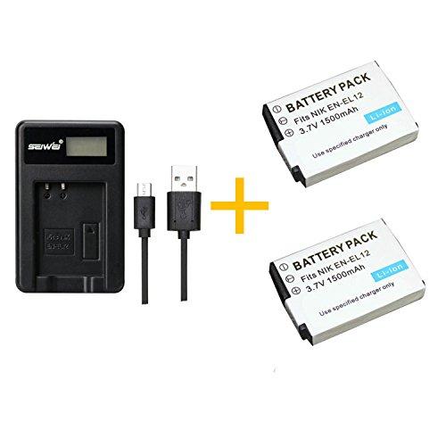 2 pieza 1500 mAh ENEL 12 ENEL12 Batería con cargador de batería para Nikon Coolpix S9700 S9500 S9400 S9300 S9100 S8200 S8100 S8000 S6300 S6200 S6150. (2 pcs battery with charger)