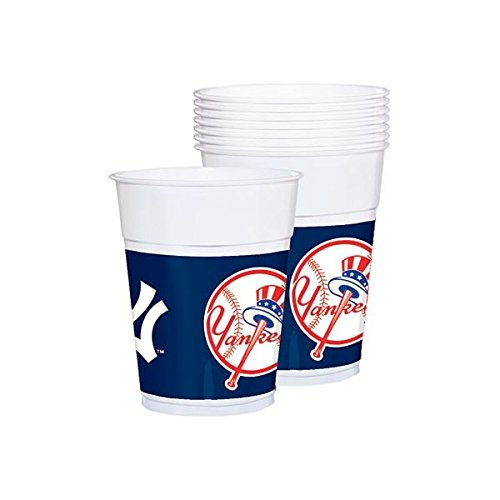 Amscan Sports & Tailgating MLB Party New York Yankees Plastic Cups , Multi Color, 12.5 x 3.7 by Amscan