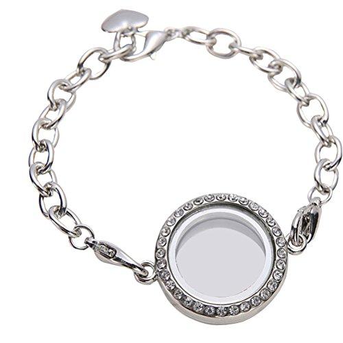 Preisvergleich Produktbild LUOEM Schwimmende Medaillon Armband Crystal Living Memory Medaillon Armband Schmuck für schwimmende Charms Geschenk (weiß K)