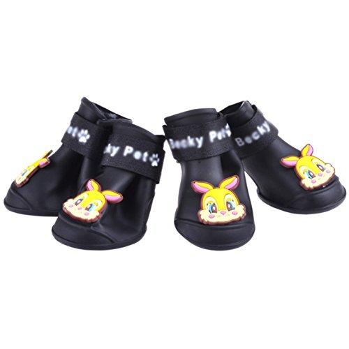 AOKDOOR 4 Stücke Haustier Haustiere Hund Cartoon schuhe Neue Reizende Tragbare Mode Hund sport Regen Schuhe Wasserdicht Anti-Slip Pet Schuhe (schwarz, S) (Schwarzer 1 Fliesenboden)
