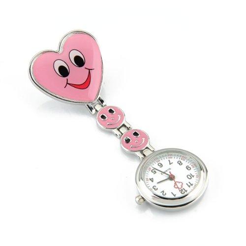 Reloj Tipo Enfermera Cuarzo Esfera Redondo Corazón Risa Color Rosa