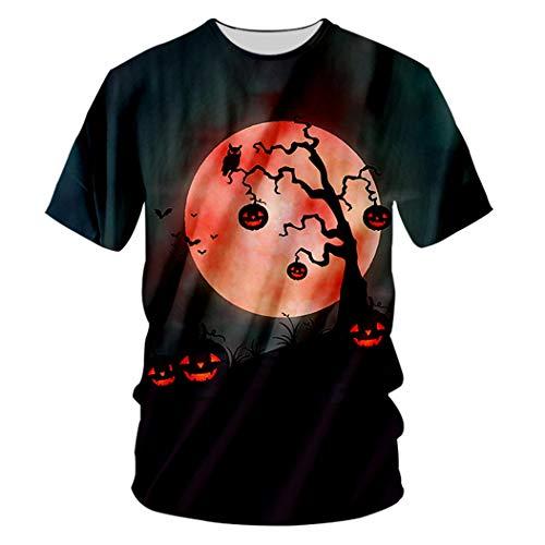 Halloween Theme Round Moon O Neck Herren 3D Laterne bedrucktes rotäugiges Kürbis T-Shirt Red Eyed Pumpkin L -