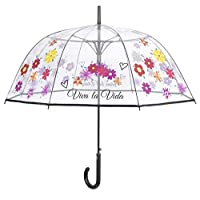 PERLETTI dome umbrella flowers automatically 89 cm transparent