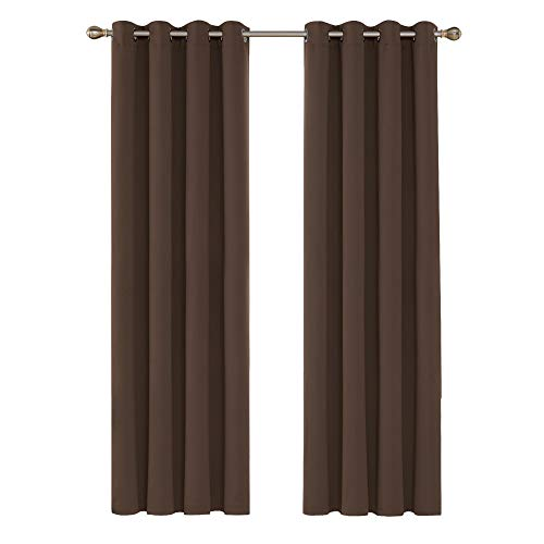 Deconovo Tende Oscuranti Termiche Isolanti Lunghe Moderne con Occhielli per Casa Moderne 140x280cm 2 Pannelli Marrone