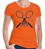 Girlie T-Shirt Badminton-Racket-M-Orange-Black