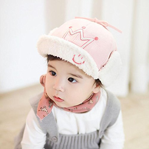 0dd96853337 23% OFF on Generic Pink   New Crown Baby Girl Winter Hat Adjustable Dual  Purpose Baby Hats with Plush Ear Flap Caps for Boys 1-3 years on Amazon ...