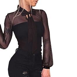 luoluoluo Jumpsuit Donna – Body Donna Sexy Trasparente Maniche Lunghe Lace-Up Tuta Pantaloni Siamesi Sottile Bodysuit Babydoll Top