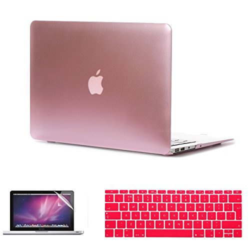 i-Buy 3in1 Kit Hard Shell Case + Keyboard Cover + Screen Protector for Apple Macbook 12 inch with Retina Display (Model A1534) - Roségold Hard Case Cover Screen