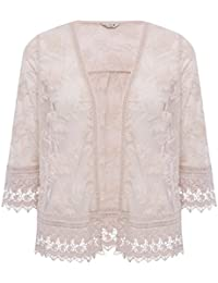 M&Co Ladies Three Quarter Length Sleeve Floral Mesh Embroidered Open Front Cover Up Kimono Style Jacket