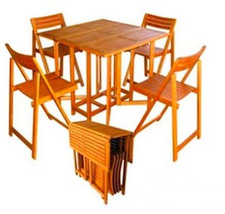 Amicasa. Table et chaises de Jardin Pliante en Bois Set 5 pièces Art 45 Pratique