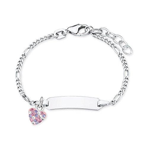Prinzessin Lillifee Mädchen-Armband Identarmband 12+2cm gravurfähig 925 Sterling Silber Kristalle weiß rosa lila