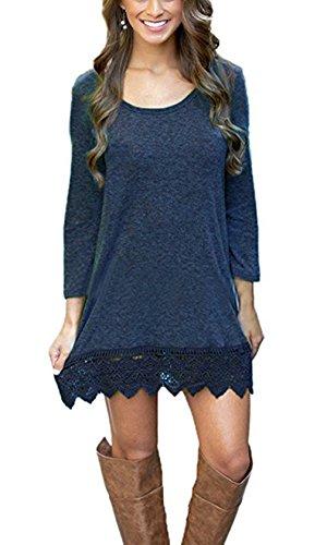 Damen Lange Ärmel Rundhals Lace Stitching Trim Lässiges Kleid A-line Saum Kleider Partykleider Blusen kleider Minikleid Lange Lace Trim Kleid Blau