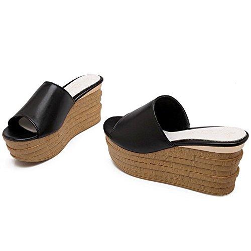 COOLCEPT Damen Mode Slip On Sandalen Open Toe Keilabsatz Schuhe Schwarz