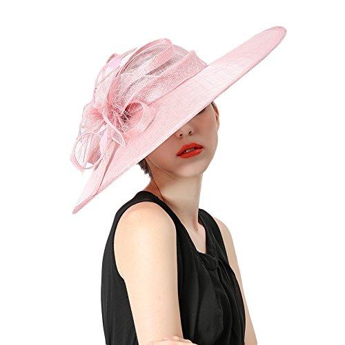 Koola's hats Damen Wide Brim Sinamay Hatinator Party Wear Hochzeit Hüte (Rosa)