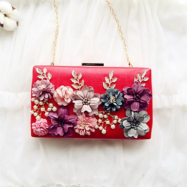 Frauen Abend Tasche PU All Seasons Event / Party Party & Amp; abends Datum Baguette Blume magnetische Aprikose Peachblow Rot Pink Rot Schwarz Peachblow
