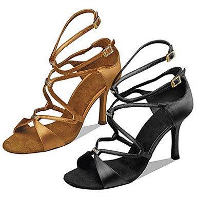 Scarpe da ballo-Personalizzabile-Da donna-Balli latino-americani Jazz Salsa Scarpe da swing-Tacco su misura-Raso-Nero Cammello Camel