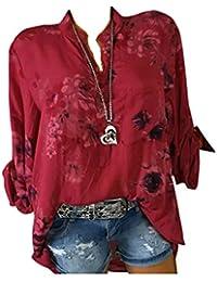 f693fc0cb6df65 GJKK Bluse Damen Herbst Shirt Reizvoller Übergröße Half Ärmel Federdruck  V-Ausschnitt Sweatshirt Langarmshirt Tops