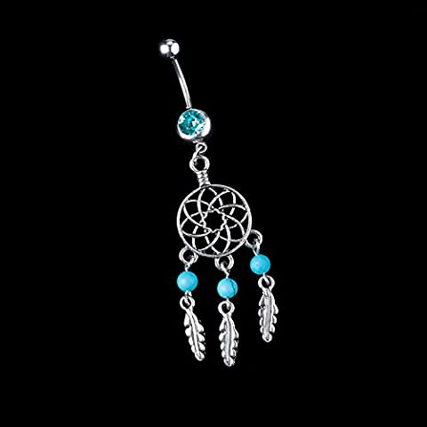 1x Cuerpo Joyas con cristal ombligo anillo de vientre anillo de corazón cuerpo piercing, azul