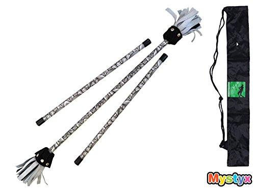MyStyx Kinder Blume-Stick-Set mit Leder Blume Enden - Motiv Schwarz n'White Leaves - Komplett mit Steuerknüppel, Klettband und Nylontragetasche.
