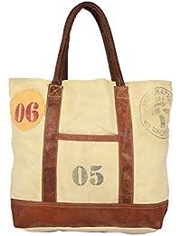 Priti Vintage Design Handbag Tote Bag Travel Bag In Washed Canvas Leather - B0791FP3BS