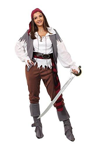 ILOVEFANCYDRESS Piraten Frauen KostümOder Seeräuber Verkleidung Perfekte Schnelle Räuber Oder Piraten Verkleidung = ERHALTBAR in 5 Verschiedenen GRÖSSEN -Large