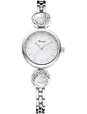 Alienwork Quarz Armbanduhr Armreif Kette wickeln Quarzuhr Uhr Strass elegant weiss silber Metall YH.KW6028S-02