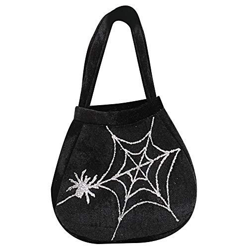 Widmann - Tasche mit Spinne und Spinnennetz (Schwarze Spinnenfrau Kostüm)
