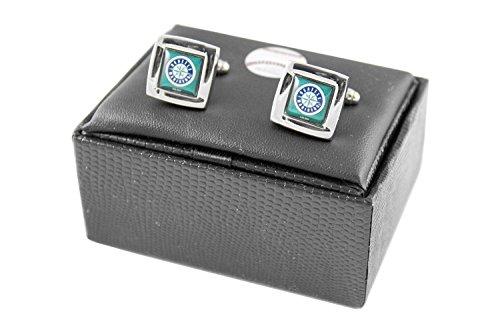 MLB Seattle Mariners Square Cufflinks With Square Shape engraved Logo design Gift Box Set Seattle Mariners Team-design