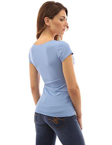 PattyBoutik Damen Bluse V-Ausschnitt mit Rüschen und kurzen Ärmeln Hellblau