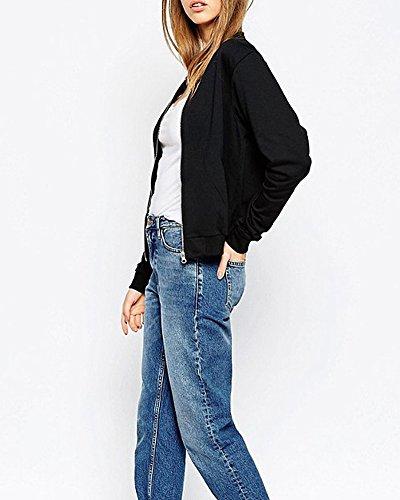 SaiDeng Femme Veste Zipper Manches Longues Slim Casual Baseball Manteau Bomber Blouson Noir