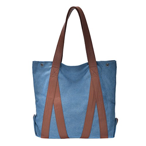 Leinwand Damen Große Kapazität Einfache Literatur Wearable Atmungsaktiv All-Spiel Handtasche Blue