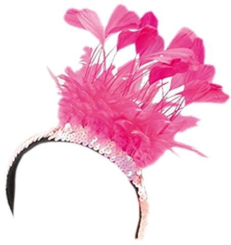 Halloweenia - Damen Feder Haarreif, Pailletten Haarband, Rosa (Deutschen Offizier Hut Kostüm)